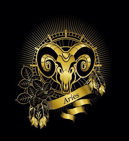 aries: ilustración vectorial signo zodiacal Aries emblema marco de la vendimia con las plumas en un fondo de oro negro