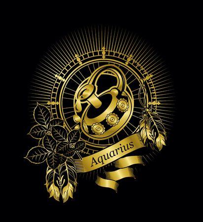 ベクトル図の星座水瓶座エンブレム ビンテージ フレーム黒の背景の金の羽