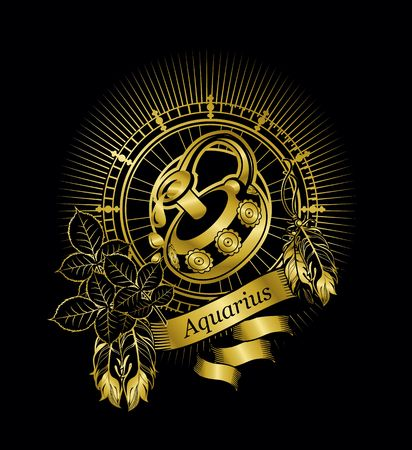 vector illustration zodiac sign Aquarius emblem vintage frame with feathers on a black background gold