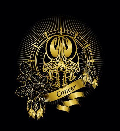 vector illustration zodiac sign Cancer emblem vintage frame with feathers on a black background gold