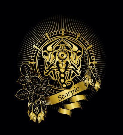 ilustración vectorial signo zodiacal Escorpio emblema marco de la vendimia con las plumas en un fondo de oro negro Ilustración de vector