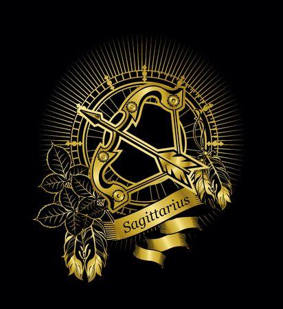 ベクトル イラスト黒背景ゴールドのビンテージ フレームに星座射手座