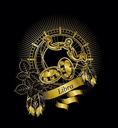 vector illustration scales zodiac sign emblem Boho style on a black background gold