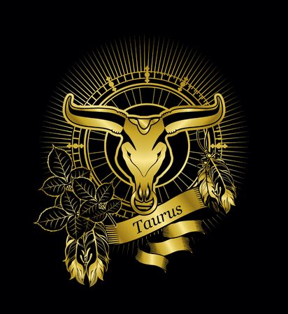 vector illustration zodiac sign Taurus emblem vintage frame with feathers on a black background gold