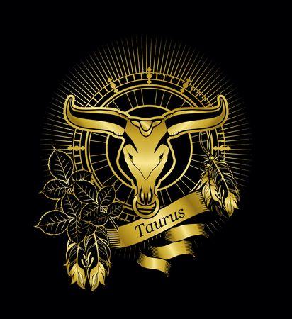 ilustración vectorial signo zodiacal Tauro emblema marco de la vendimia con las plumas en un fondo de oro negro