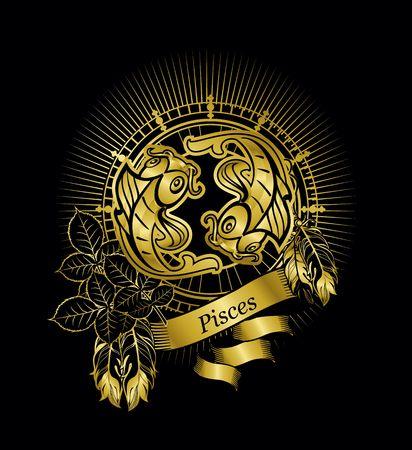 vector illustration zodiac sign Pisces emblem vintage frame with feathers on a black background gold Illustration