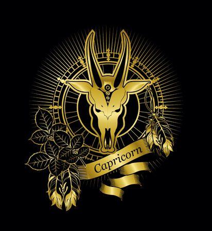 ベクトル図の星座山羊座エンブレム ビンテージ フレーム黒の背景の金の羽