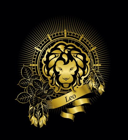 augury: astrological sign Leo, on the rectangle in vintage style rose lisyah with banners on a black background gold