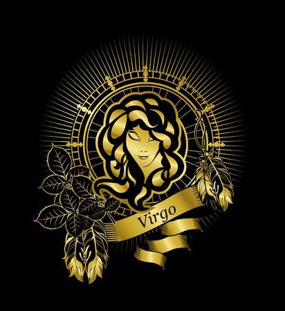 검은 색 바탕에 빈티지 스타일의 금색 사각형에 처녀 자리의 점성학 기호