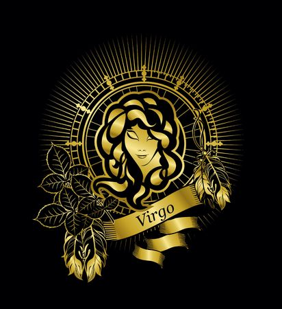 the astrological sign of Virgo, on the rectangle in vintage style gold on a black background