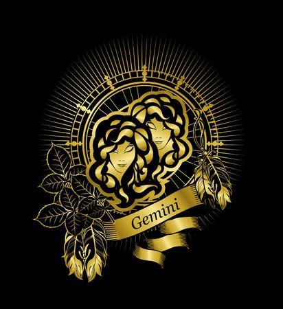 黒地にゴールドの円形の占星術星座のジェミニ 2 女の子
