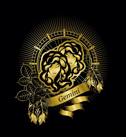 crystal gazing: astrological sign of the zodiac Gemini two girls in a circular shape in gold on a black background