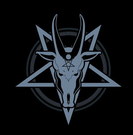 occult sign skull goat in the pentagram on a black background