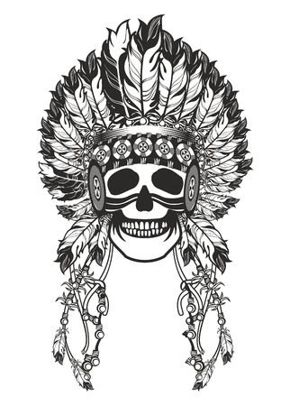 vector illustration Indian totem skull headdress with feathers