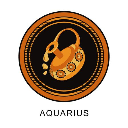 vector illustration of the zodiac Aquarius horoscope in vintage round frame Illustration
