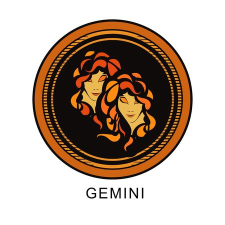 gazing: astrological sign of the zodiac Gemini two girls in a round shape multi color
