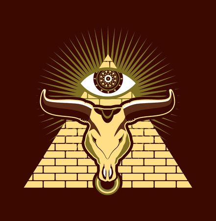 god's cow: bull skull on a background of the Egyptian pyramids at the top of the eye symbol