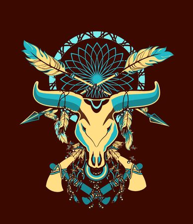 american tomahawk: skull of a bull with long horns in the background Dreamcatcher and shamanism attributes