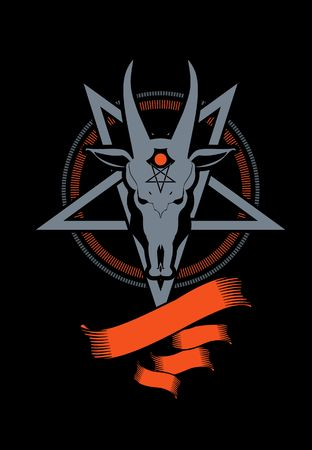 occult: occult sign skull goat in the pentagram on a black background