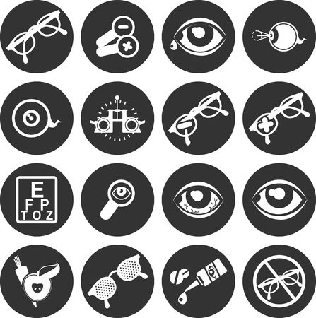 eye exams: set of vector icons on the theme of care and eye health ophthalmologist