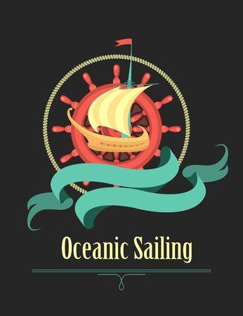 barque: Marine emblem on a black background sailboat steering wheel