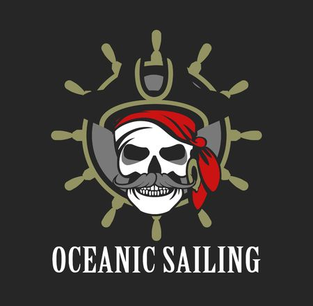sea robber: vector skull emblem sea pirate on a background of the wheel Illustration