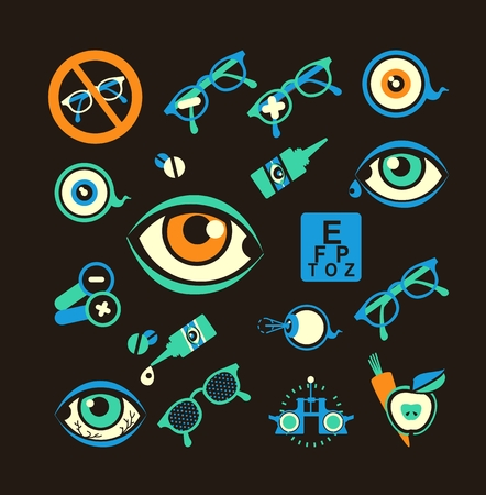 ophthalmologist: set of vector icons on the theme of care and eye health ophthalmologist