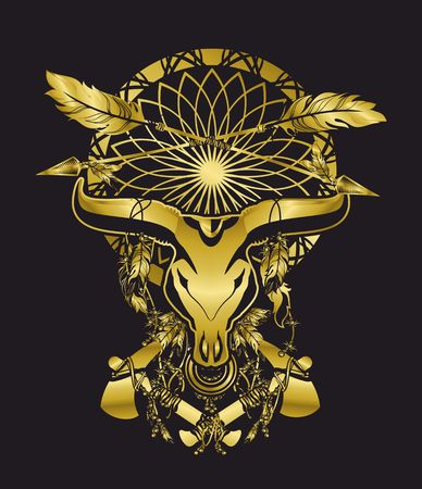 shamanism: skull of a bull with long horns in the background Dreamcatcher and shamanism attributes in gold color