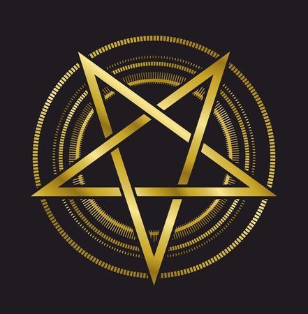 kabbalah: vector design signs pentagram gold five-pointed star on a black background