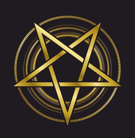 sacral: vector design signs pentagram gold five-pointed star on a black background