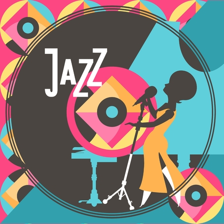 jazz singer: jazz singer performs sings near the piano style of pop art