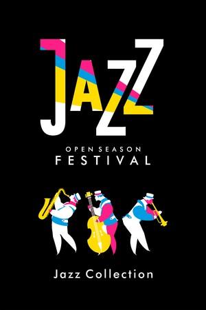 Vector del cartel bandas de la banda de música de jazz presentación