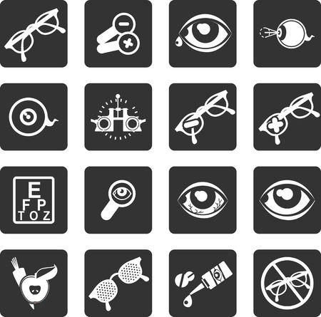 관리 및 눈 건강 안과의 테마 벡터 아이콘의 설정 일러스트