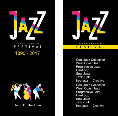 vector bilateral evroflaer size 100mm to 210mm theme of jazz and its direction Illustration