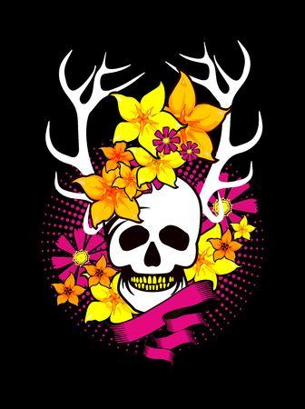 mysticism: Vintage style element, a dark romance, lyubos,mysticism, human skull in flowers