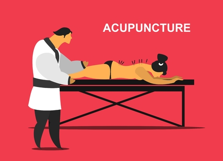 shiatsu: Vector illustration of a patient on the table for massage and acupuncture