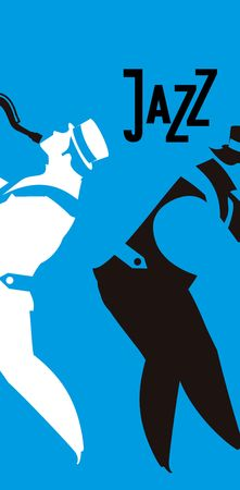 duet: vector illustration musical theme of jazz and blues vertical flyer Illustration
