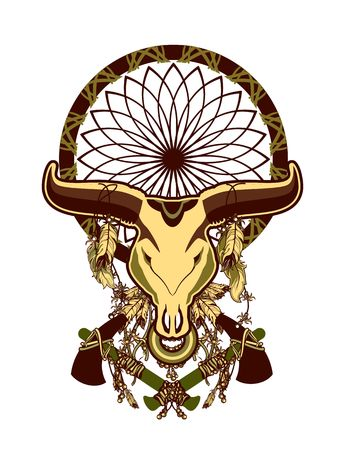shamanism: skull of a bull with long horns in the background Dreamcatcher and shamanism attributes
