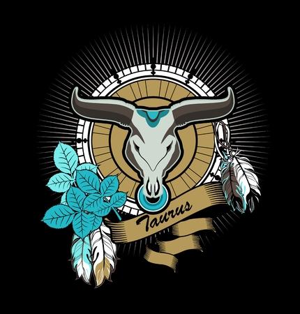 bull pen: vector illustration Taurus emblem vintage frame with feathers on a black background