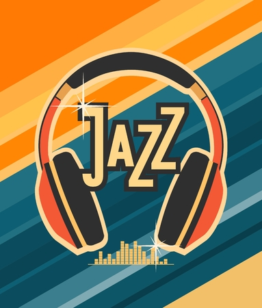 blues music: vector illustration background music of jazz and blues music headphones