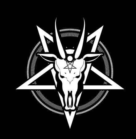occult sign skull goat in the pentagram on a black background Stock Vector - 55602811