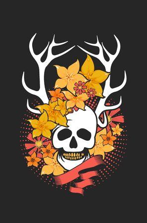mysticism: Vintage style element, a dark romance, love, mysticism, human skull in flowers Stock Photo