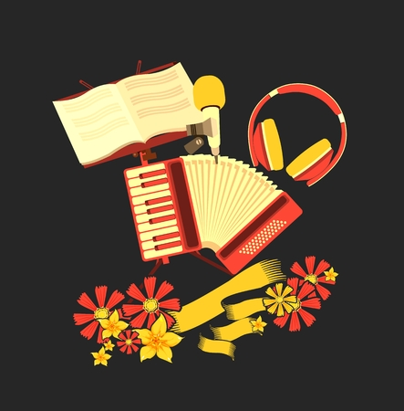 overtone: Vector illustration of retro music concept musical emblem accordion headphone tambourine concept making music