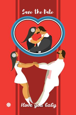 circling: stylized characters bride and groom holding hands circling in the dance Illustration