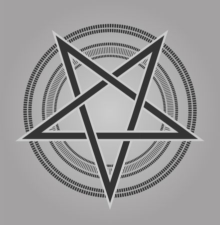 ishtar: vector design pentagram signs five-pointed star in shades of gray vintage