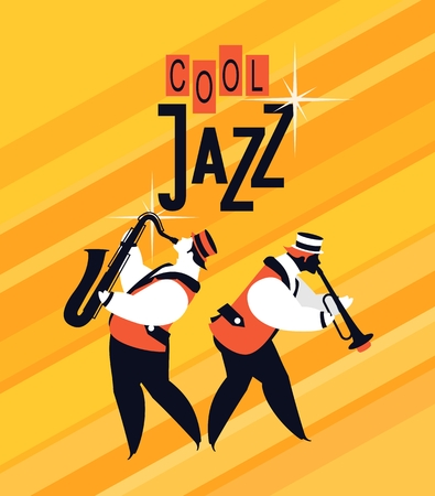 duet: bright vector background with a jazz musician playing the saxophone