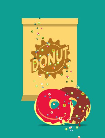 glazed: vector illustration of Glazed donuts package for breakfast