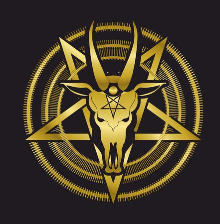 heretic: occult sign skull goat in the pentagram on a black background