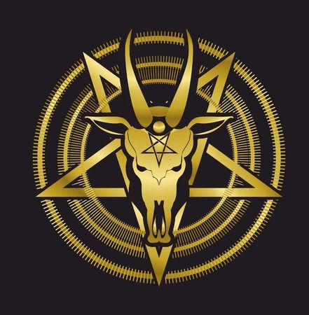 okkulten Zeichen Schädel Ziege im Pentagramms auf einem schwarzen Hintergrund