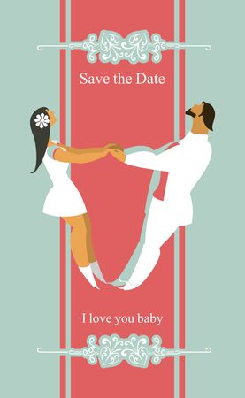 tailcoat: stylized characters bride and groom holding hands circling in the dance Illustration
